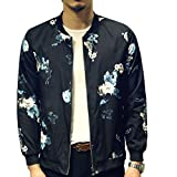 Mens Casual Lightweight Jacket Printed Pattern Slim Fit Bomber Jacket Varsity Coat