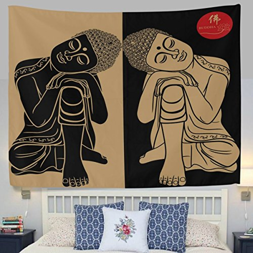 HMWR Retro India Tapestry Wall Hanging Buddhism twins Buddha Yoga Meditation Wall Decor Art Aura Spiritual Polyester Bedspread Picnic Bedsheet Blanket Hippie Tapestries 60x80 Inch ()