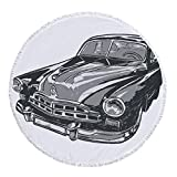iPrint Thick Round Beach Towel Blanket,Cars,Hand Drawn Vintage Vehicle with Detailed Front Part Hood Lamps Rear View Mirror,Grey Blue Grey,Multi-Purpose Beach Throw