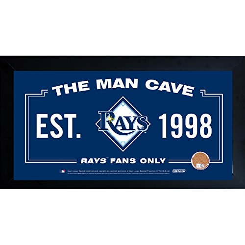 Steiner Sports Memorabilia Tampa Bay Rays Man Cave Sign With Authentic Game-Used Dirt Capsule, Blue, 10