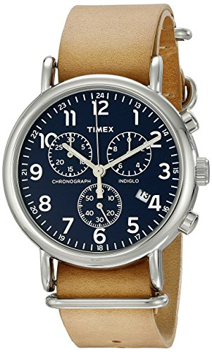 Timex Unisex TW2P62300 Weekender Chrono Oversize Tan Leather NATO Slip-Thru Strap Watch