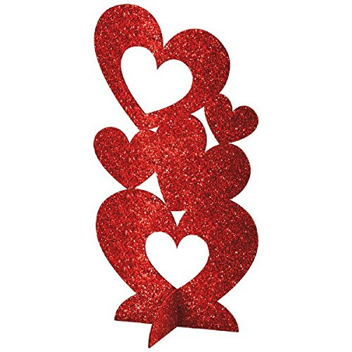 Amscan Radiant Valentine's Day Party Stacked 3-D Hearts Table Centerpiece Decoration (Pack Of 1), Red, 11 1/2