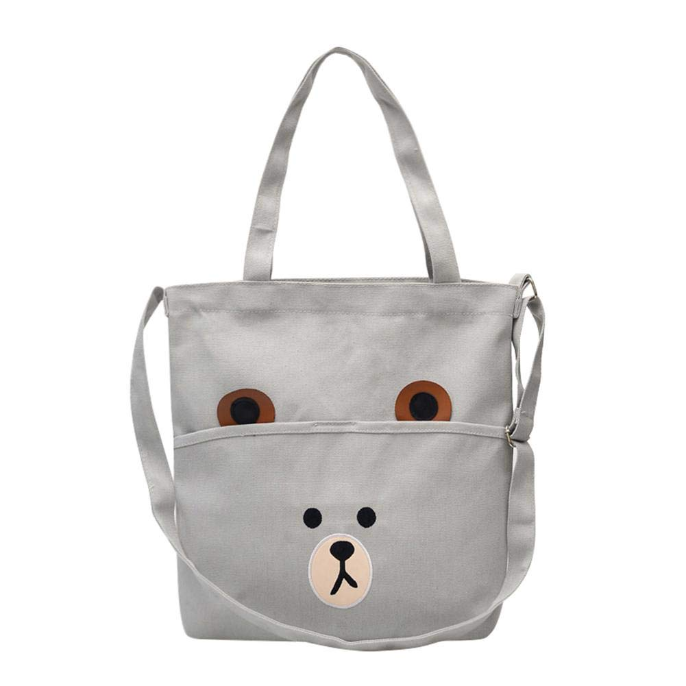 Bear Print Canvas Shopping Totes Women Shoulder Messenger Handbags by newzeroin White