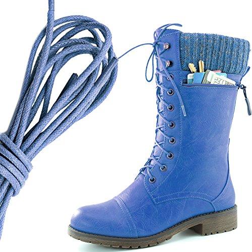 Dailyshoes Womens Combat Stijl Lace Up Enkellaarsje Ronde Teen Militaire Knit Creditcard Mes Geld Portemonnee Pocket Laarzen, Koningsblauw Blauw Pu