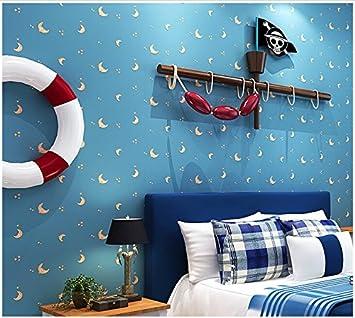Yosot Blauer Stern Mond Junge Mädchen Schlafzimmer Tapete Cartoon Kinder Zimmer Vlies Tapete Sky Blue