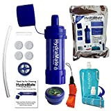 HydraMate Mini Water Filter Straw. 2 Layers of Filtration. Removes Bacteria and Protozoa with Medical Grade UF Membrane. 1200L Capacity. BPA FREE. Easy to use. With 750ml Foldable Bottle and more!