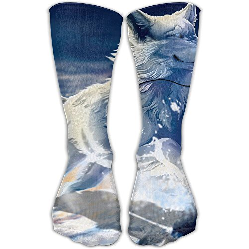 White Wolf Women & Men Socks Soccer Sport Tube Stockings Length -