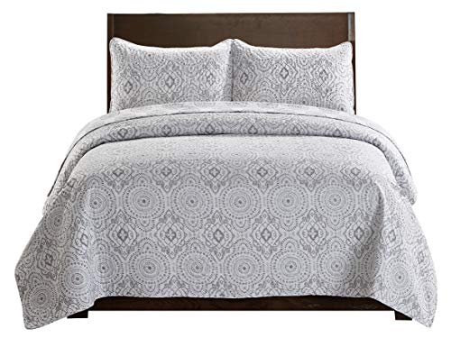 SLPR Sense of Calm 3-Piece Lightweight Printed Quilt Set (Queen) | with 2 Shams Pre-Washed All-Season Machine Washable Bedspread Coverlet