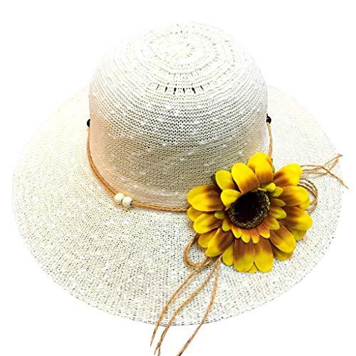 AcisuHu Trendy Floppy Foldable Ladies Flower Wide Brim Beach Comfortable Sunshade Summer Hat Straw Cap Wrap (Beige, One)