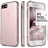 iPhone 8 Case and iPhone 7 Case, SaharaCase Inspire Protection Kit Bundle with [ZeroDamage Tempered Glass Screen Protector] Dual Layer Rugged Shockproof Bumper - Clear Rose Gold