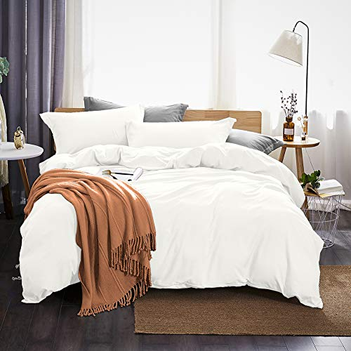 Dreaming Wapiti Duvet Cover King 100% Washed Microfiber 3pcs Bedding Set,Solid Color - Soft and Breathable with Zipper Closure & Corner Ties (White),