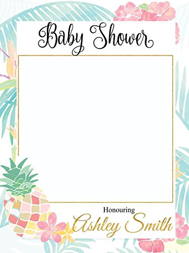 Custom Pineapple baby shower Photo Booth Frame - Sizes 36x24, 48x36; Tropical Baby shower decorations, Luau, Aloha Baby Shower Photo Booth Props, Selfie frame ()