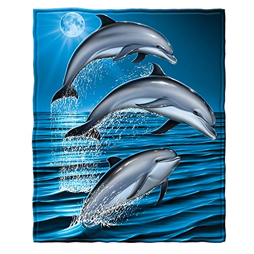 "Dawhud Direct Super Soft Full/Queen Size Fleece Blanket, 75"" x 90"" (Dolphins)"