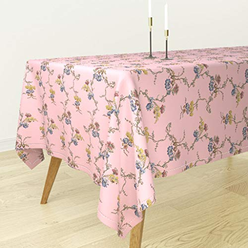 (Roostery Georgian Tablecloth - Historical Pink Reproduction Floral by Bonnie Phantasm - Cotton Sateen Tablecloth 70 x 70)