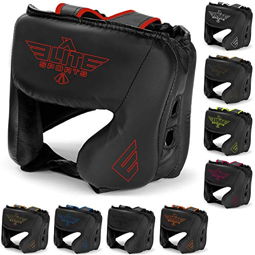 Elite Sports New Item Boxing Head Guard, Sparring Kickboxing, MMA, Muay Thai Headgear Kick Brace Head Protection (Red) (Best Head Guard Boxing)