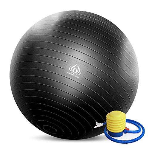 Forbidden Road Exercise Yoga Ball (4 Sizes, 4 Colors) 400 lbs Anti-Burst Slip-Resistant Yoga Balance Stability Swiss Ball for Fitness Exercise with Free Air Pump (Black, Diameter: 80-85cm)