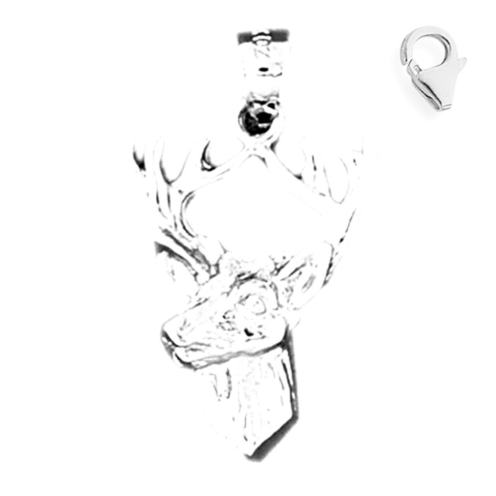 JewelsObsession Sterling Silver 28mm Deer Charm w//Lobster Clasp