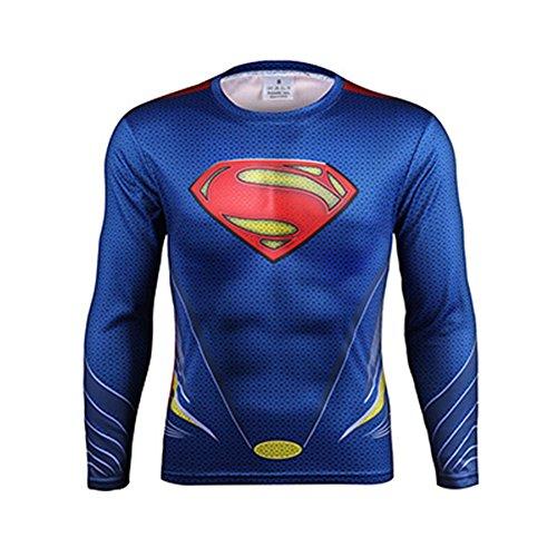 3D Superman Superhero Cosplay Costume Quick-Dry Sport T-Shirt Gym Cycling  Jersey (Asian-2XL) df41788c8