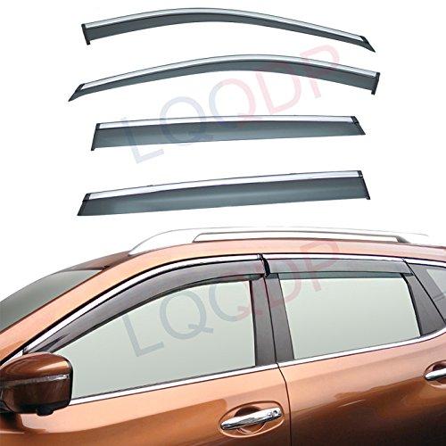 (LQQDP 4pcs Smoke Tint With Chrome Trim Outside Mount Tape On/Clip On Style PVC Sun Rain Guard Vent Shade Window Visors Fit 14-18 Nissan X-Trail/Rogue)