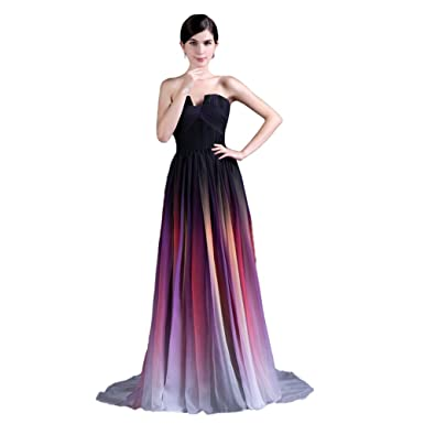 YSFS Womens V-neck Chiffon Long Evening Dresses US2