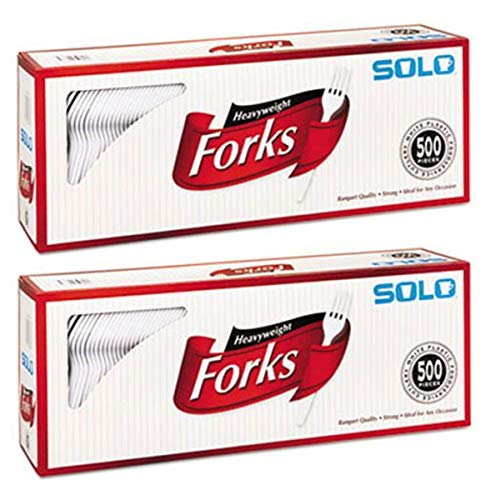 SOLO Cup Company Sadda 827263 Heavyweight Plastic Cutlery, Forks, White, 6.41 in, 500/Carton, 2 Pack