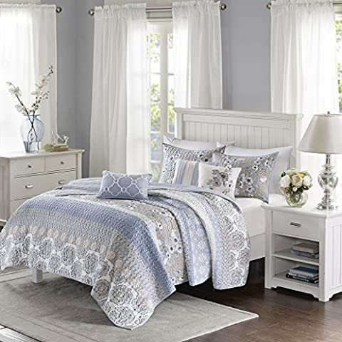 Madison Park Willa 6 Piece Quilted Coverlet Set Blue KingCal King