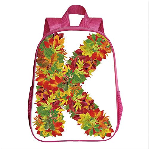 Letter K Kindergarten Shoulder Bag,Fresh Organic Fall Literature Fragrance Herbs Eco Woodland Inspired Capital K Sign Decorative for Child,9.4''Lx4.7''Wx11.8''H