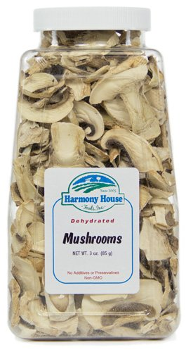 Harmony House Foods, Dried Mushrooms, Sliced, 3 Ounce Quart Size Jar