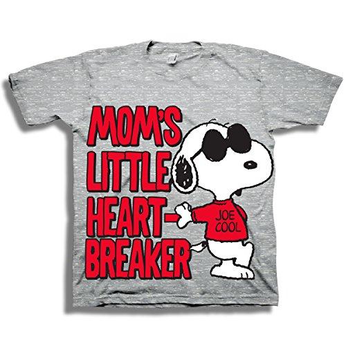 Joe Kids T-shirt - Peanuts Toddler Boys Snoopy Shirt - Featuring 'Moms Little Heart Breaker' & 'Joe Cool' on Snoopy - Snoopy T-Shirt (3T)