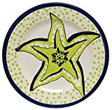 Caffco International Dana Wittmann Collection Ceramic Plates, Set of 4, 10.5-Inches in Diameter, Starfish
