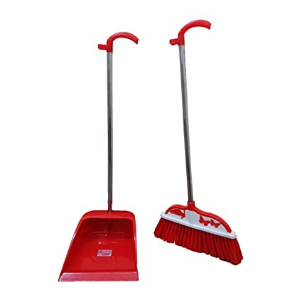 Inditradition Broom & Dustpan Set, Sweep Set with Long Handle, for All Surfaces (2 Pieces Set, Red)