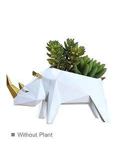 HomeBerry Succulent Cactus Planter Flower Pot Rhino Figurine Sculpture Animal Statue Home Decor Gift Decoration Hand Painted Polyreisn 18cmL