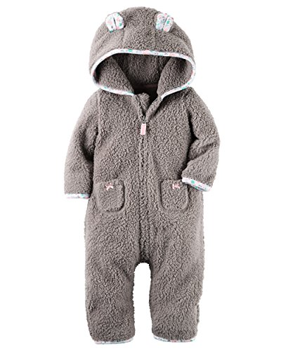 Carters Baby Girls Hooded Fleece Jumpsuit - Brown Sherpa-NB (Hooded Romper Newborn compare prices)