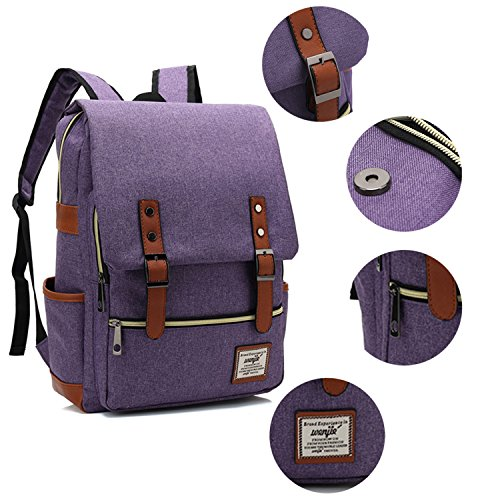 Canvas Backpack - Lightweight Laptop Backpack, Vintage Travel Backpack with Laptop Sleeve, Campus Backpack with Side Pockets Canvas Rucksack for School Working Hiking (purple) by GoTravel2 (Image #3)