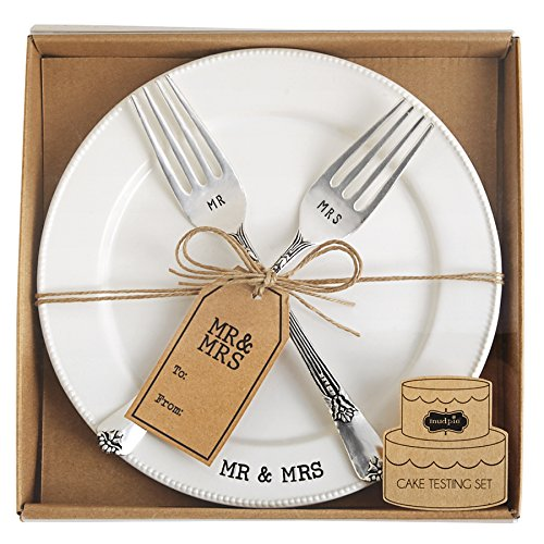 Mud Pie Mr. & Mrs. Plate & Fork Set, White - Wedding Plate Cake