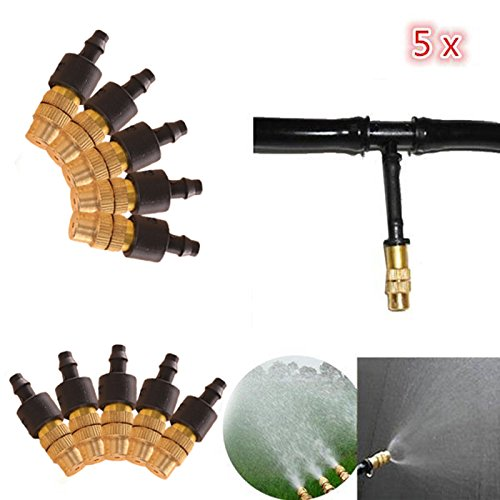 Kicode Garden Spray Nozzle Adjustable Brass Misting Hose Connector Gardening Outdoor Watering Irrigation Sprayer Sprinkl