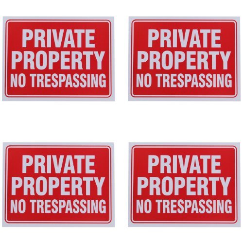 Private Property No Trespassing Sign 9 x 12 Inch - 4 Pack]()