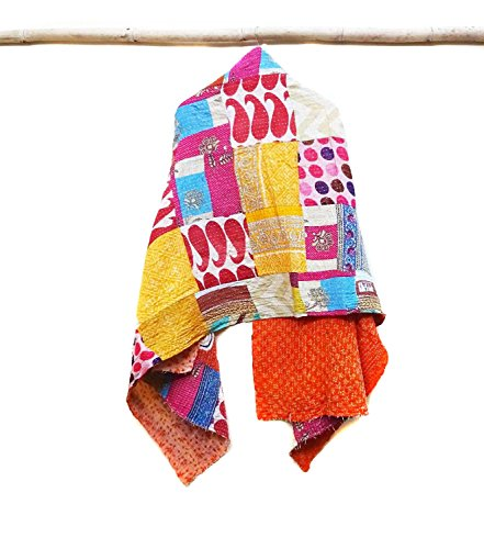 Cotton Kantha Scarf Head Wrap Stole Dupatta Hand Quilted Women headband patchwork
