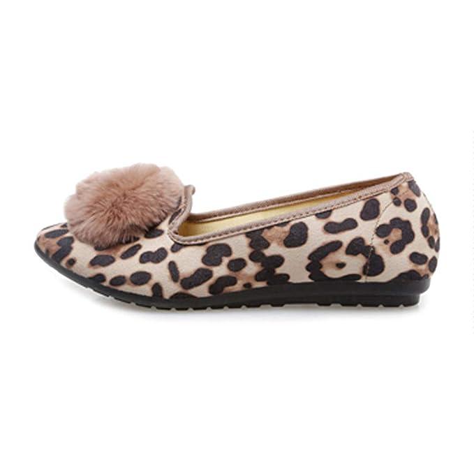 LITHAPP Zapatos Planos Zapatos De Barco Casual Boca Baja Moda Leopardo Zapatos De Trabajo Planos Zapatos De Mujer: Amazon.es: Ropa y accesorios