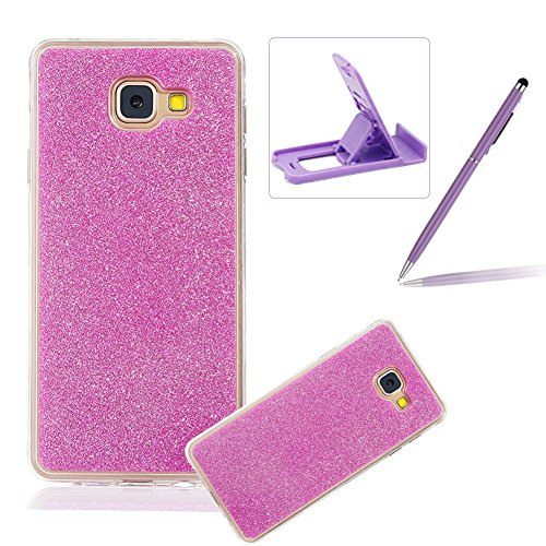 Cover for Galaxy A3 2017,Rubber Case for Galaxy A3 2017,Herzzer Super Slim [Hot Pink Gradient Color Changing] Dust Resistant Soft Flexible TPU Bling Glitter Protective Case