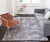Well Woven Shimmer Shag Silver Grey Solid Modern Luster Ultra Thick Soft Plush Plain Area Rug 7 x 10 (6'7' x 9'10') Contemporary Retro Polyester Textured 2' Pile Yarn Easy Clean Stain Fade Resistant