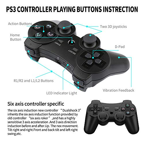 Boowen Wireless Controller for PS3,Bluetooth Gamepad for Playstation 3 with Dual Shock Feedback,Wired PC Gaming…
