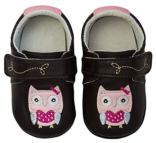 Rose & Chocolat Rcm Polka Owl Brown - Zapatos para bebes Bebé-Niñas Marrón (brown)