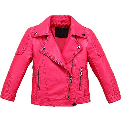 LJYH Baby Boys Girls Fashion PU Leather Jacket Kids Zipper Coat Rose Red]()