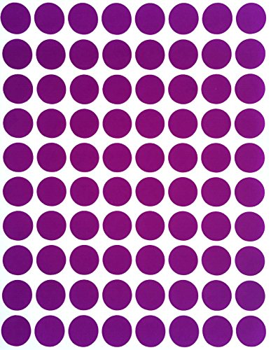 "Color Coding Labels 1/2"" Round - Dot Stickers -- Half inch rounds PURPLE sticker -- 1200 pack"