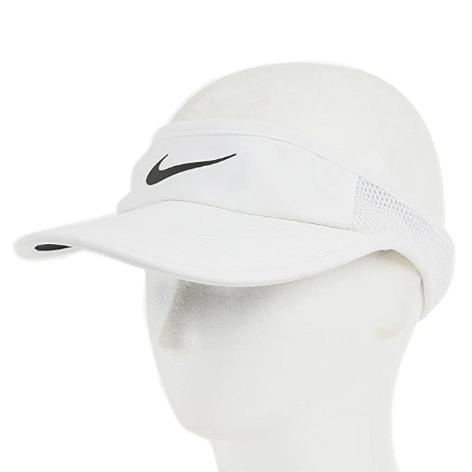 Amazon.com  Nike Court Featherlight Tennis Visor White Black Size ... 0cc27793f2a