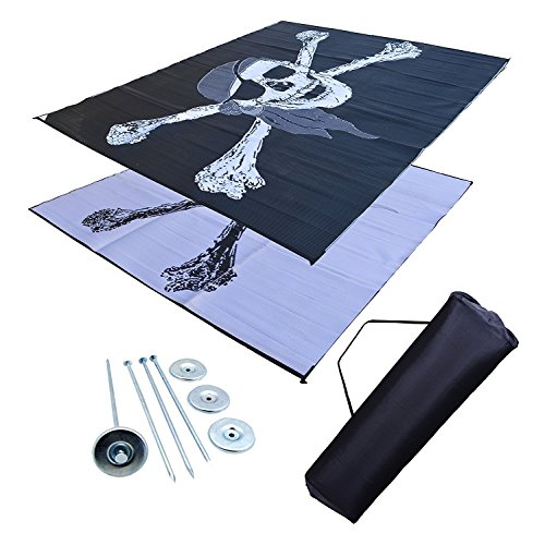 (Professional EZ Travel Collection RV Patio Mat Awning Mat Outdoor Mat 9x12 Pirate RV Mat (Bag and Stakes Included))