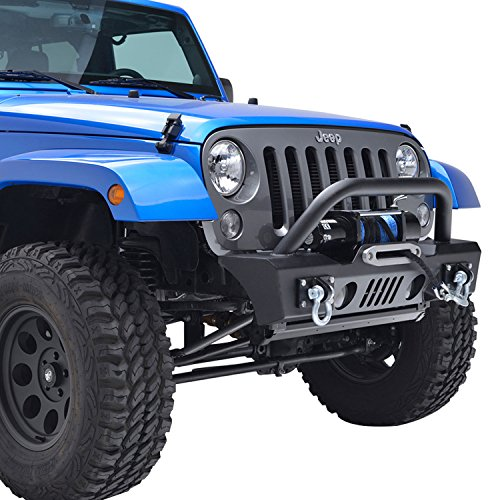 E-Autogrilles 07-17 Jeep Wrangler JK Stubby Front Bumper with OE Fog Light Housing (51-0357)