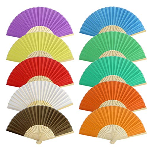 Lee-buty 10 pcs Decorative Folding Fans Hand Held Fans fabric Bamboo Handheld Folded Fan Tassel Fan Hand Holding Fans for Wall Decoration, Church Wedding Gift, Party Favors, DIY Decoration(1(10 Color)
