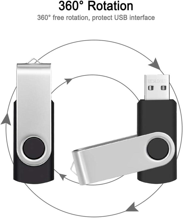 USB Flash Drive 2GB Bulk Pack of 10 Memory Sticks Multipack 2 GB Thumb Drives Portable USB 2.0 Zip Drives Metal Swivel Pendrive Jump Drive Data Stick Black by FEBNISCTE
